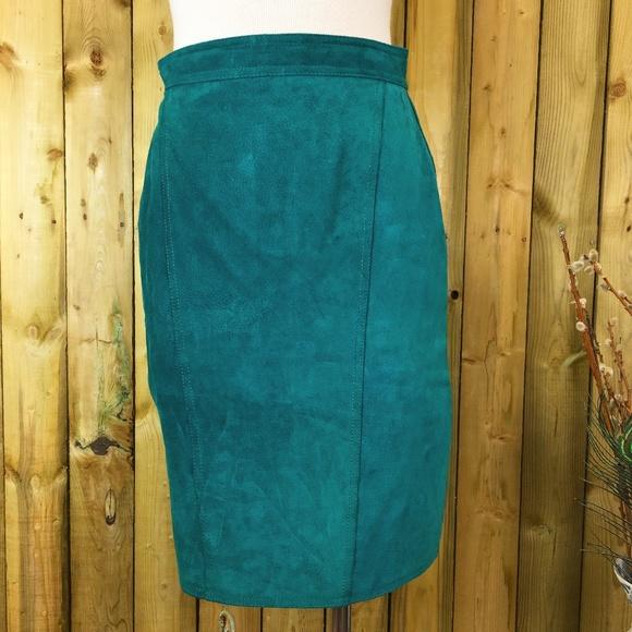 Vintage Dresses & Skirts - Vintage Teal Green Leather Pencil Skirt